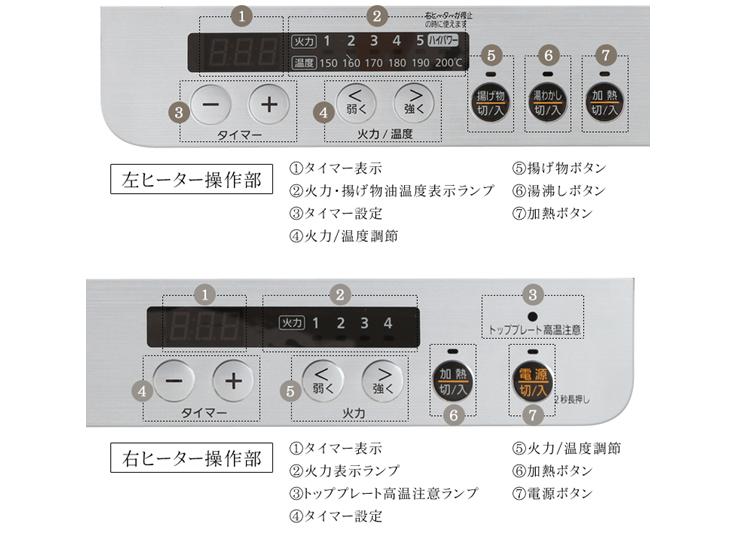 2口IHコンロ IHK-W12S-W